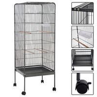 Costway 58'' Large Parrot Bird Cage Play Top Pet Supplies w/Perch Stand Two Doors Flattop - Dark Gray
