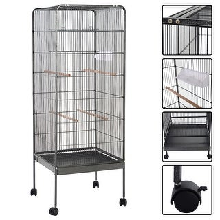 Costway 58'' Large Parrot Bird Cage Play Top Pet Supplies w/Perch Stand Two Doors Flattop