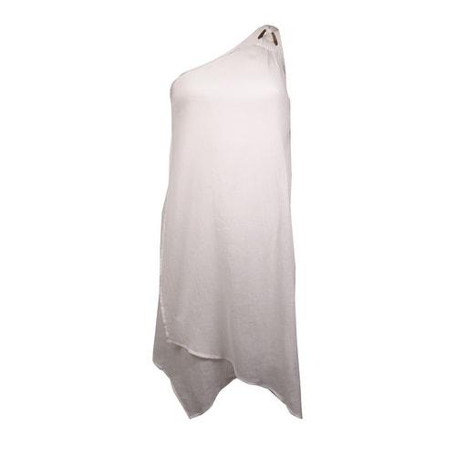 MICHAEL Michael Kors Women's Crinkled Cotton One Shoulder Swim Cover