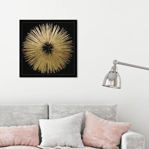 Oliver Gal 'Sunburst Golden Night' Abstract Wall Art Framed Print Paint - Gold, Black