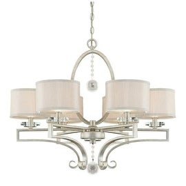 """Savoy House 1-250-6 Rosendal 6 Light 30"""" Wide 1 Tier Chandelier with Crystal Accents - silver sparkle"""