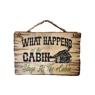 Cowboy Signs Wood Wall Hanging Happens Cabin Pine Wood White - White Brown