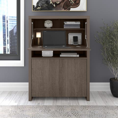 Bristol Modern Secretary Desk with Storage Cabinet by Bush Furniture