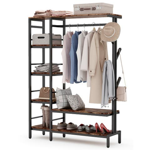 Free-standing Closet Organizer with Hooks, Heavy Duty Clothes Storage Garment Rack with Shelves and Hanging Rod