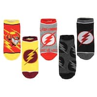 DC Comics The Flash Lighting Logo 5 Pair No-Show Ankle Socks