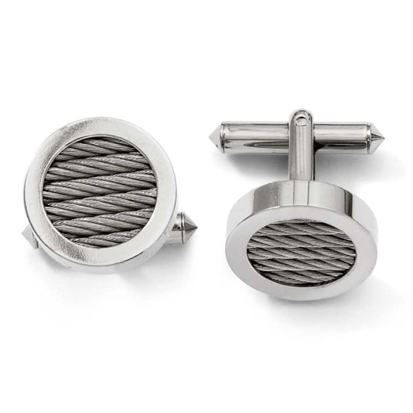 Chisel Titanium & Steel Wire Cuff Links