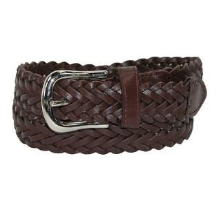 CTM® Boys' Leather 3/4 Inch Adjustable Braided Dress Belt