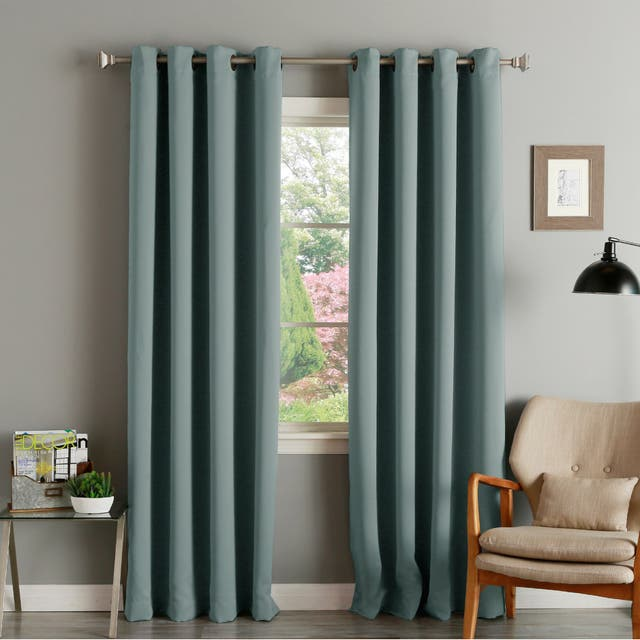 """Aurora Home Thermal Insulated Blackout Grommet Top Curtain Panel Pair - 52"""" w x 72"""" l - Mineral"""