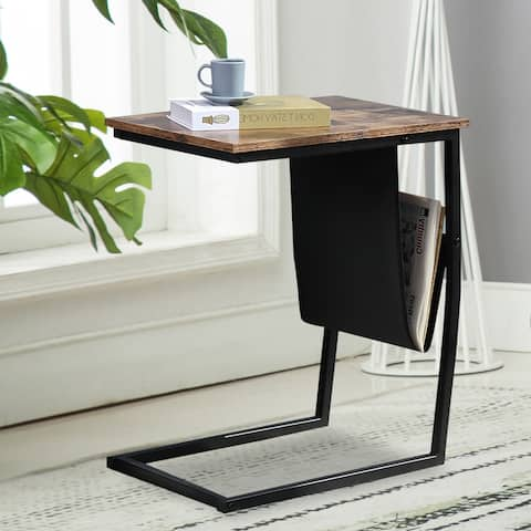 Industrial Side Table Mobile Snack Table for Coffee Laptop Tablet