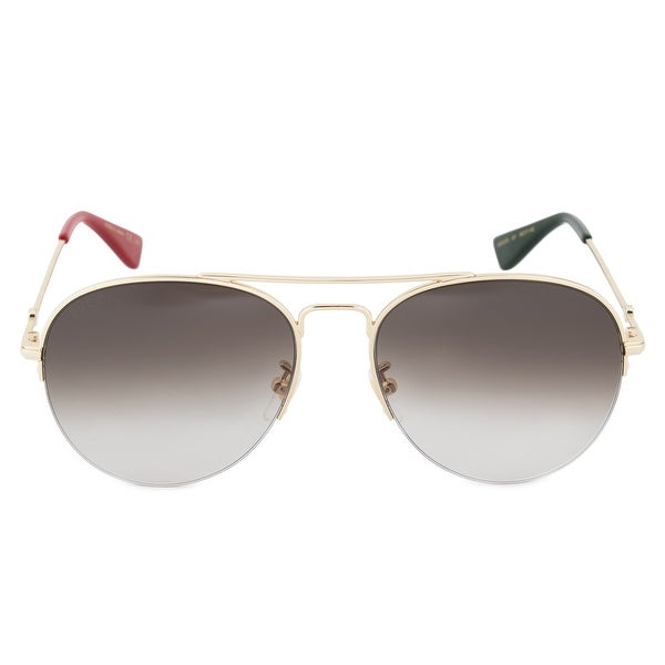 d36570290 Shop Gucci GG0107S 007 56 Aviator Sunglasses - On Sale - Free ...