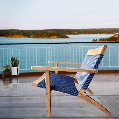 Chic Teak Paris Teak Wood Patio Lounge and Dining Chair, Blue