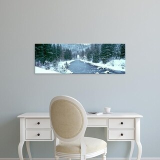 Easy Art Prints Panoramic Images's 'USA, Montana, Gallatin River, winter' Premium Canvas Art