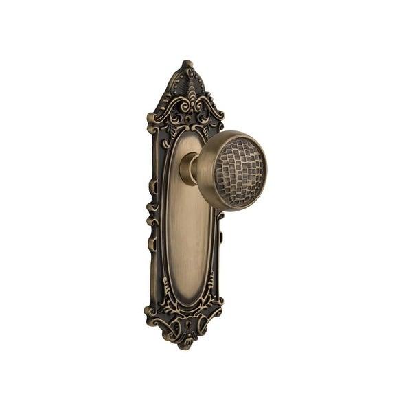 "Nostalgic Warehouse VICCRA_PRV_238_NK Craftsman Solid Brass Privacy Knob Set with Victorian Rose and 2-3/8"" Backset"