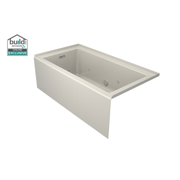 """Jacuzzi LNS6030WLR2CH Linea 60"""" x 30"""" Acrylic Whirlpool Bathtub for Three Wall Alcove Installation with Left Drain and"""