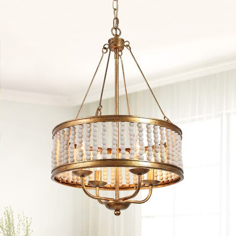 "Gold 4-Light Wood Beads Boho Coastal Chandelier Handcraft Ceiling Lights - Antique Gold - D 15.5"" x H 24"""