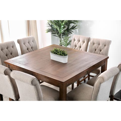 Furniture of America Fons Rustic Oak 54-inch Counter Dining Table