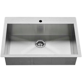 """American Standard 18SB.9332211 Edgewater 33"""" Single Basin Stainless Steel Kitchen Sink for Drop In or Undermount Installations"""