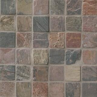 "MSI THDW3-SH-C2X2T  2"" Square Mosaic Tile - Tumbled Slate Visual - Sold by Carton (10 SF/Carton) - Mixed Slate"