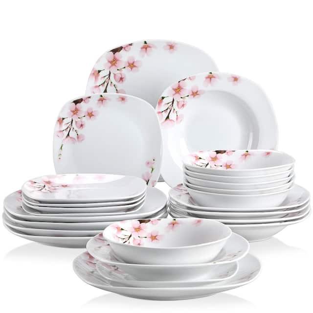 VEWEET 'Annie' Floral Dinnerware Set (Service for 6) - 24 Piece