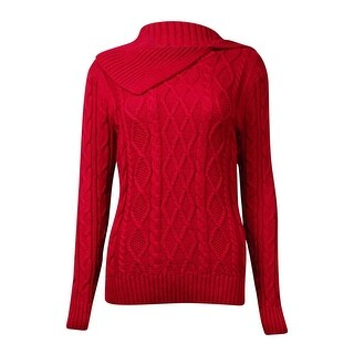 Jeanne Pierre Women's Asymmetrical-Neck Cable Sweater