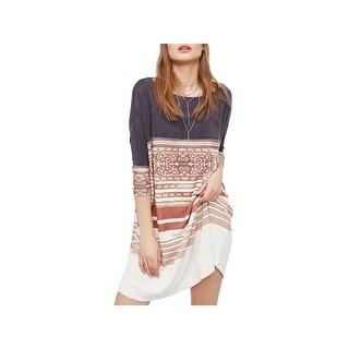 Free People Womens T-Shirt Dress Printed Colorblock