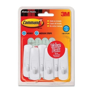 3M Brand, Command Utility Hook, Medium, Value Pack, 6 hooks and 12 strips, white