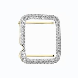 Apple Watch Bezel Men Ladies Sterling Silver Lab Diamond 42mm Gold Tone