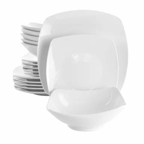 Elama Newman 18 Piece Square Porcelain Dinnerware Set in White