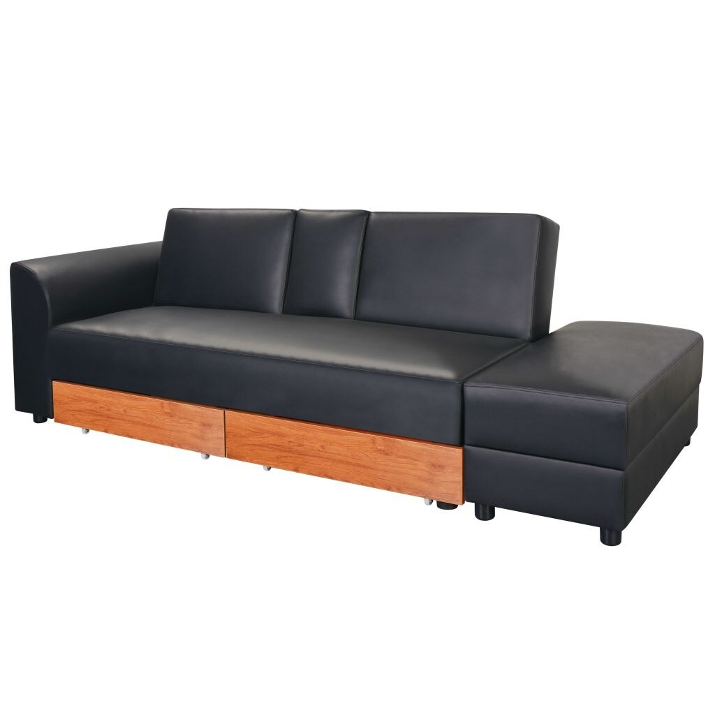 Super Vidaxl Sofa Bed With Drawers And Ottoman Black Artificial Leather Inzonedesignstudio Interior Chair Design Inzonedesignstudiocom