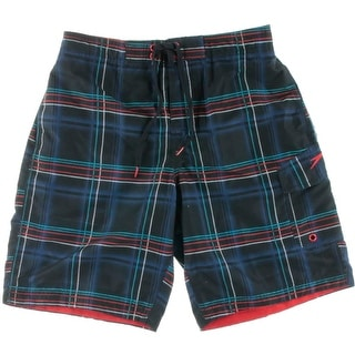 Speedo Mens Brushed Plaid Trunks Board Shorts