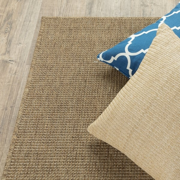 Veranda Solid Tan Indoor Outdoor Area Rug On Sale Overstock 7521436 3 7 X 5 6 Natural