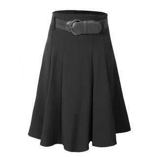 NE PEOPLE Office High Waisted Flare Pleated Knee A-Line Skirt With Belt