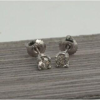 1/2 ct 14kt white gold basket setting diamond stud earrings with screw-backs
