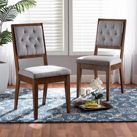 Gideon Modern & Contemporary Diamond-tuffed Wood Dining Chair Set(2PC)