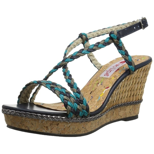Two Lips Women's Hazel Wedge Sandal, Blue/Multi, Size 7.5