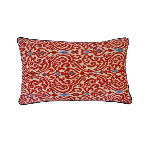 Jiti Red Embroidered Traditional Cotton Handmade Pillows - 12 x 20