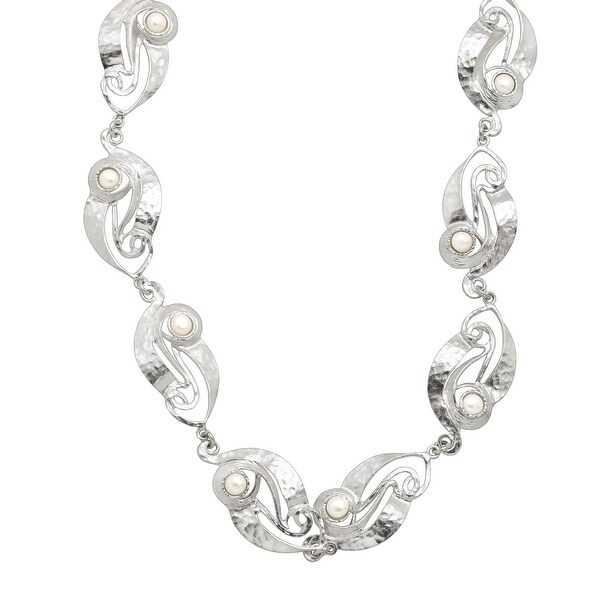Hammered Swirling Disc Necklace with Freshwater Pearls in Sterling Silver