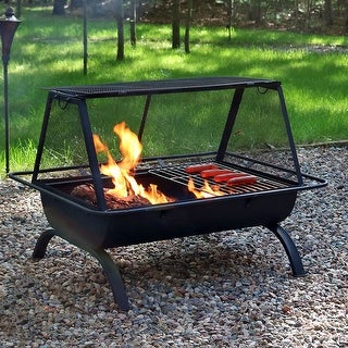Sunnydaze Northland Grill Fire Pit with Spark Screen and Vinyl Cover - 36-Inch