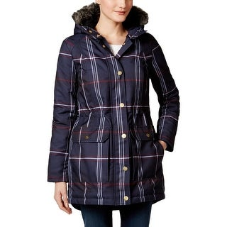 Tommy Hilfiger Womens Parka Plaid Hooded
