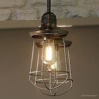 """Luxury Industrial Pendant Light, 12""""H x 6""""W, with Vintage Style, Cage Design, Estate Bronze Finish"""