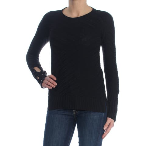 BAR III Womens Black Wool Grommet Detail Long Sleeve Jewel Neck Sweater Size: 2XS