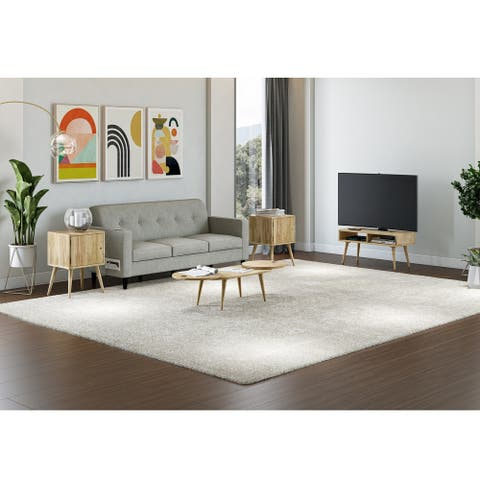 Carson Carrington Shorewood 3-Piece Mid Century Modern Wood End Tables, Oval Cocktail Table and TV Stand