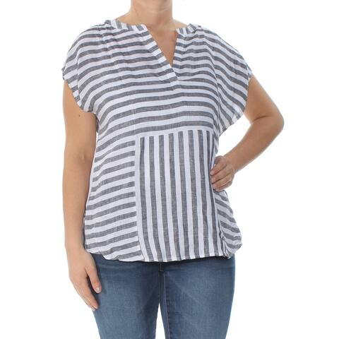 VINCE CAMUTO Womens Gray Striped Short Sleeve V Neck Blouse Wear To Work Top Size: L