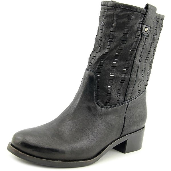 Delman Merci Women Round Toe Leather Black Mid Calf Boot