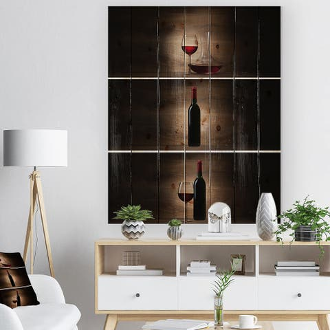 Designart 'Green bottle with red wine and glass' Digital Art Print on Natural Pine Wood - Black