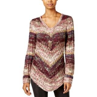 Ultra Flirt Womens Juniors Tunic Sweater Striped V-Neck