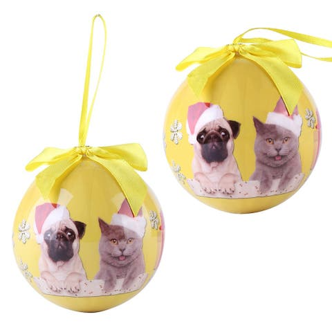 Pack of 2 Pug-Cat Christmas Tree Balls Shatter Proof Ornaments