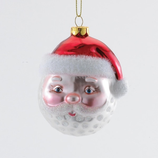 "3"" Decroative Red and White Glittered Santa Head Christmas Glass Ornament"