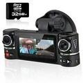 "Indigi® F600 Car DVR DashCam w/ DualRotating Cameras (Front+Rear) BlackBox Recorder with 2.7"" Split LCD w/ 32gb microSD Included - Thumbnail 0"