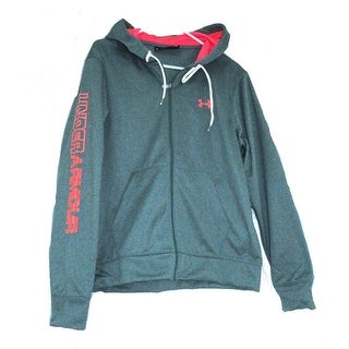 Under Armour Womens Coldgear Large Green/Coral Graphic Logo Zip-Up Hoodie